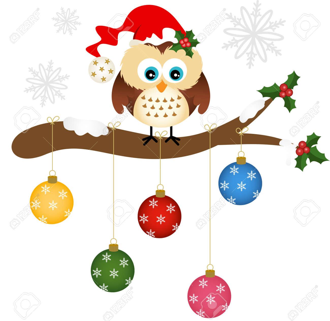 Christmas Owl.Christmas Owl On Holly Branch With Glass Balls