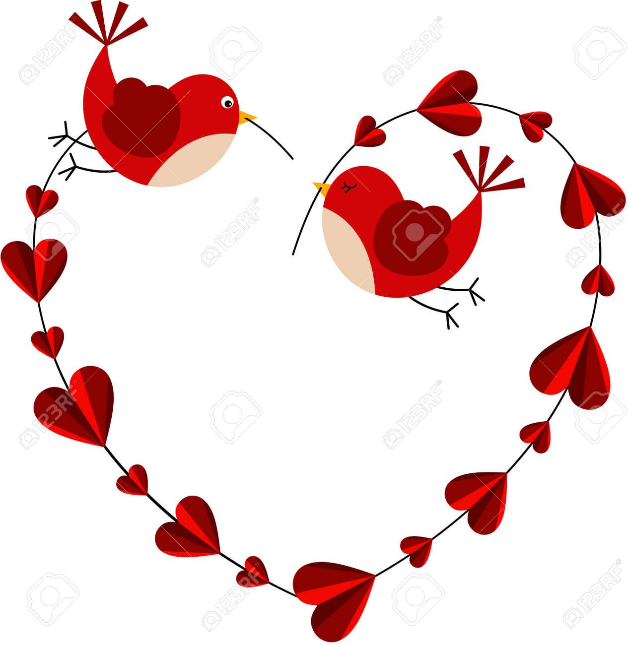 Couple love birds forming a heart - 48827505