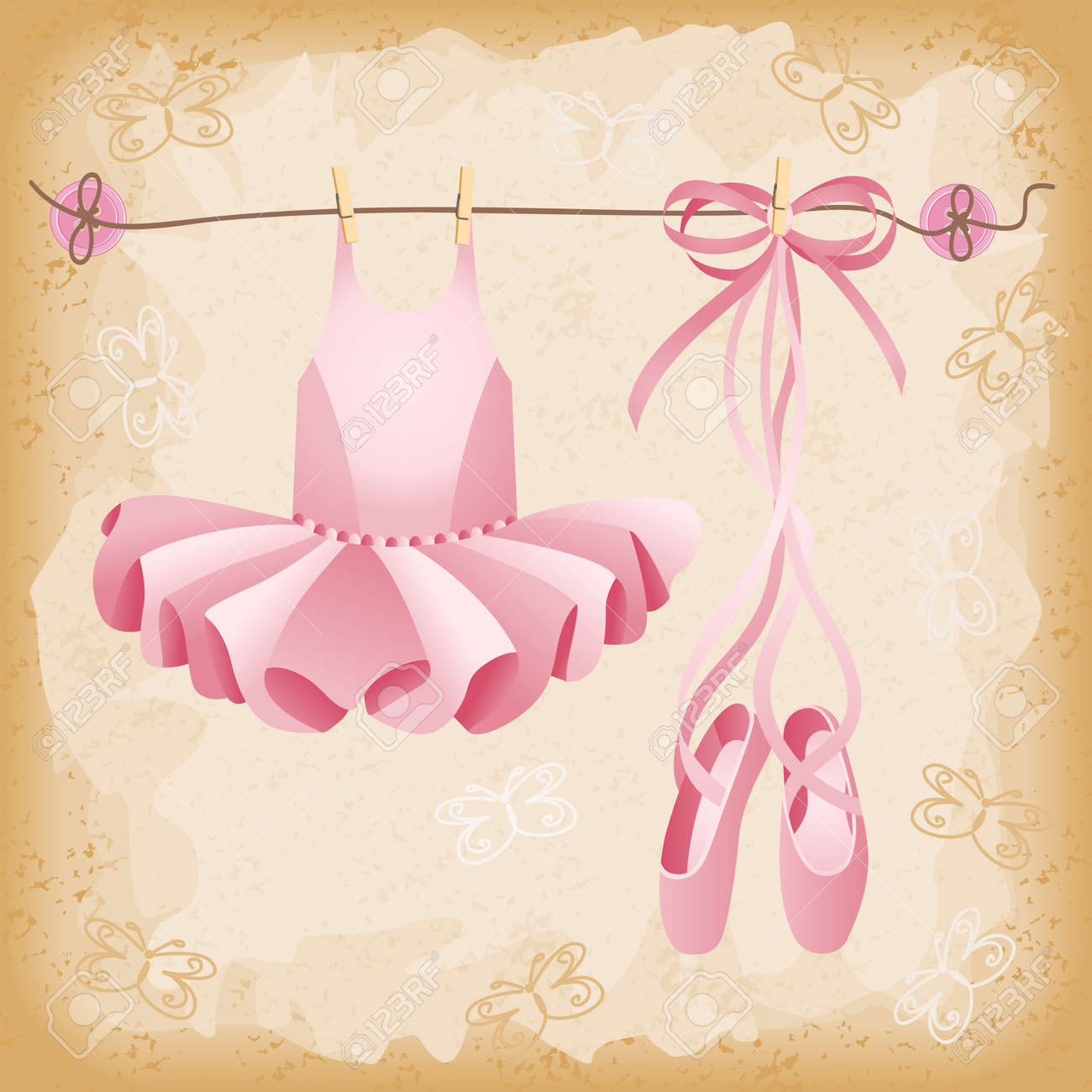 pink ballet slippers and tutu background royalty free cliparts