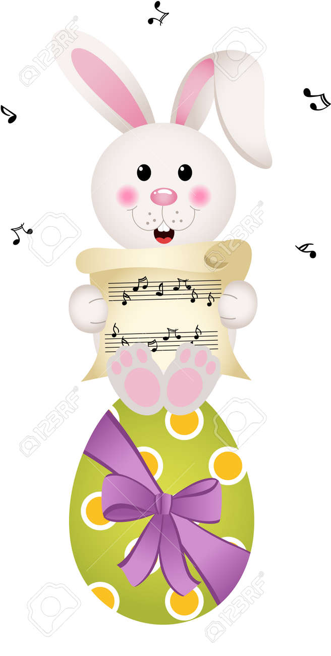 Easter Bunny Singing On Chocolate Egg Royalty Free Cliparts Vectors And Stock Illustration Image 50903451