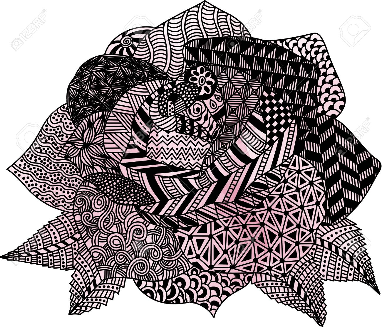 Rose Flower Zentangle Royalty Free Cliparts Vectors And Stock