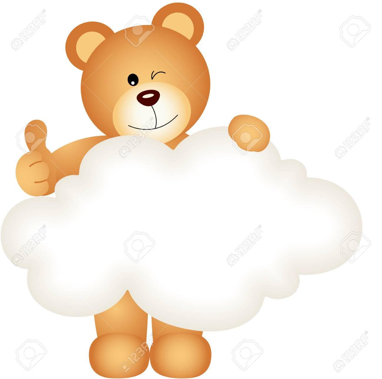 Teddybär Mit Leeren Wolke Lizenzfrei Nutzbare Vektorgrafiken Clip