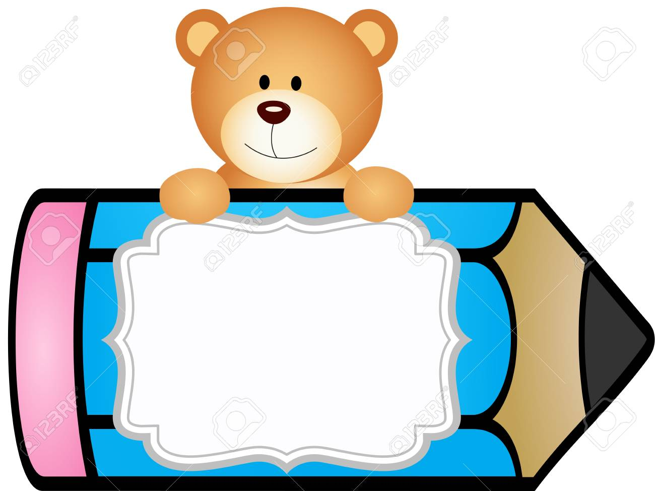 teddy bear with pencil personalized label sticker royalty free