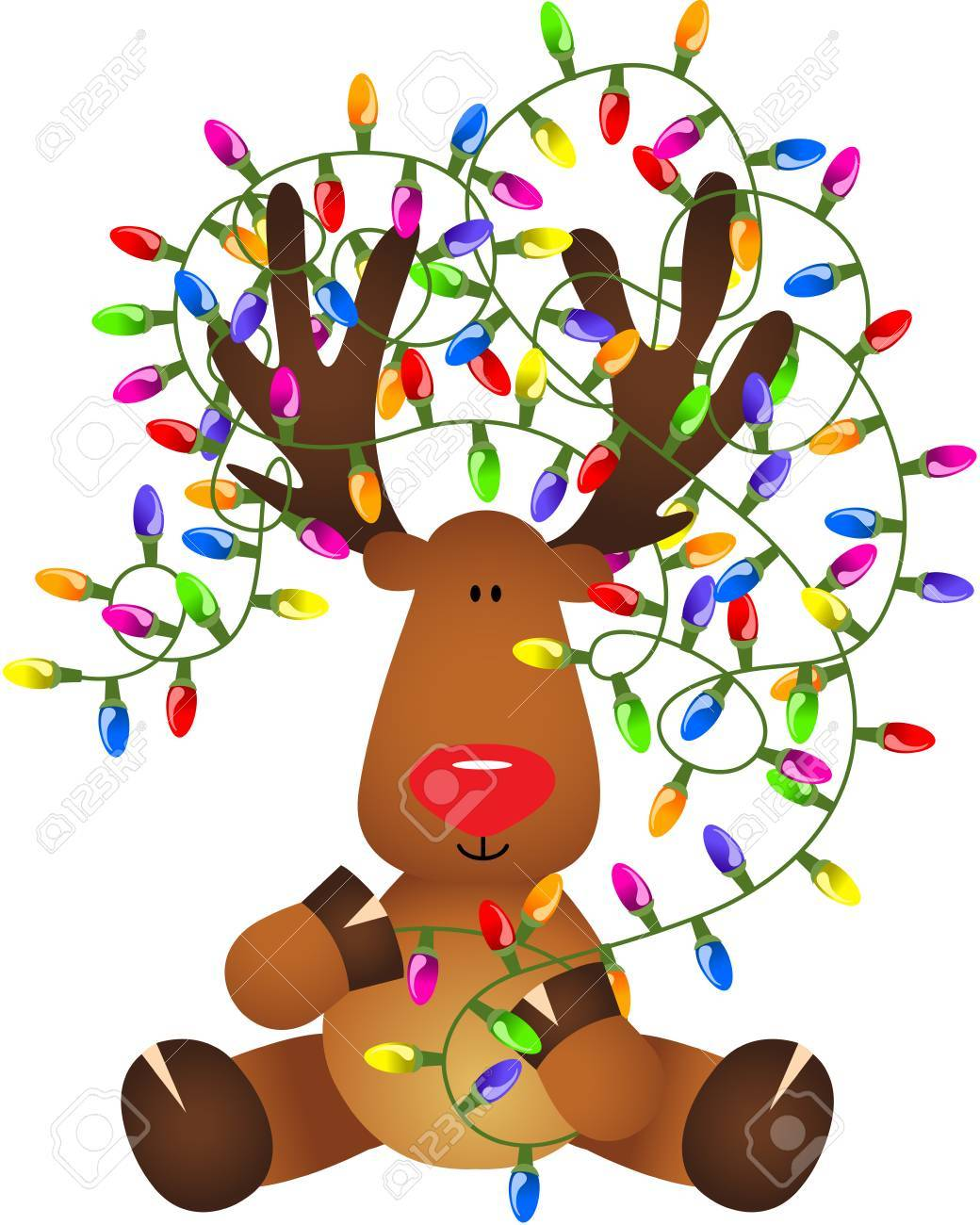 Cute Reindeer With Christmas Lights