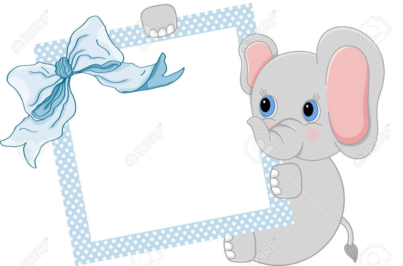 Baby Teddy Bears Holding Blue Frame And Ribbon Royalty Free Cliparts