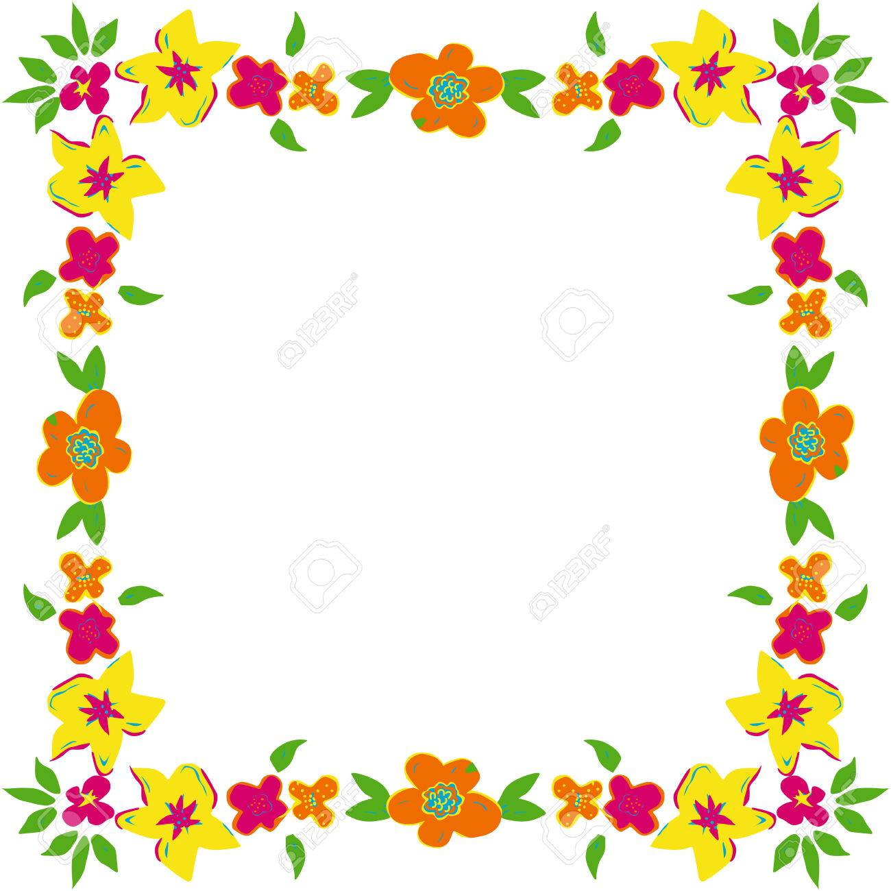 Floral Frame With Spring Flowers Royalty Free Cliparts Vectors