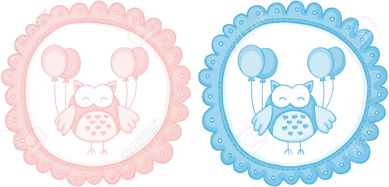 baby owl baby shower sticker labels royalty free cliparts vectors