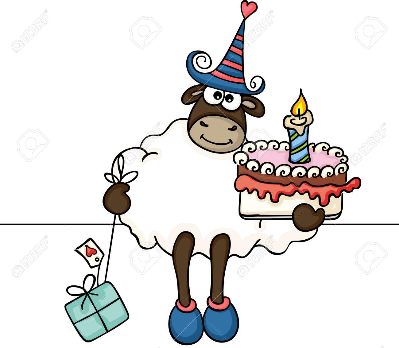 Prime Sheep Holding Birthday Cake And Gift Royalty Free Cliparts Funny Birthday Cards Online Benoljebrpdamsfinfo