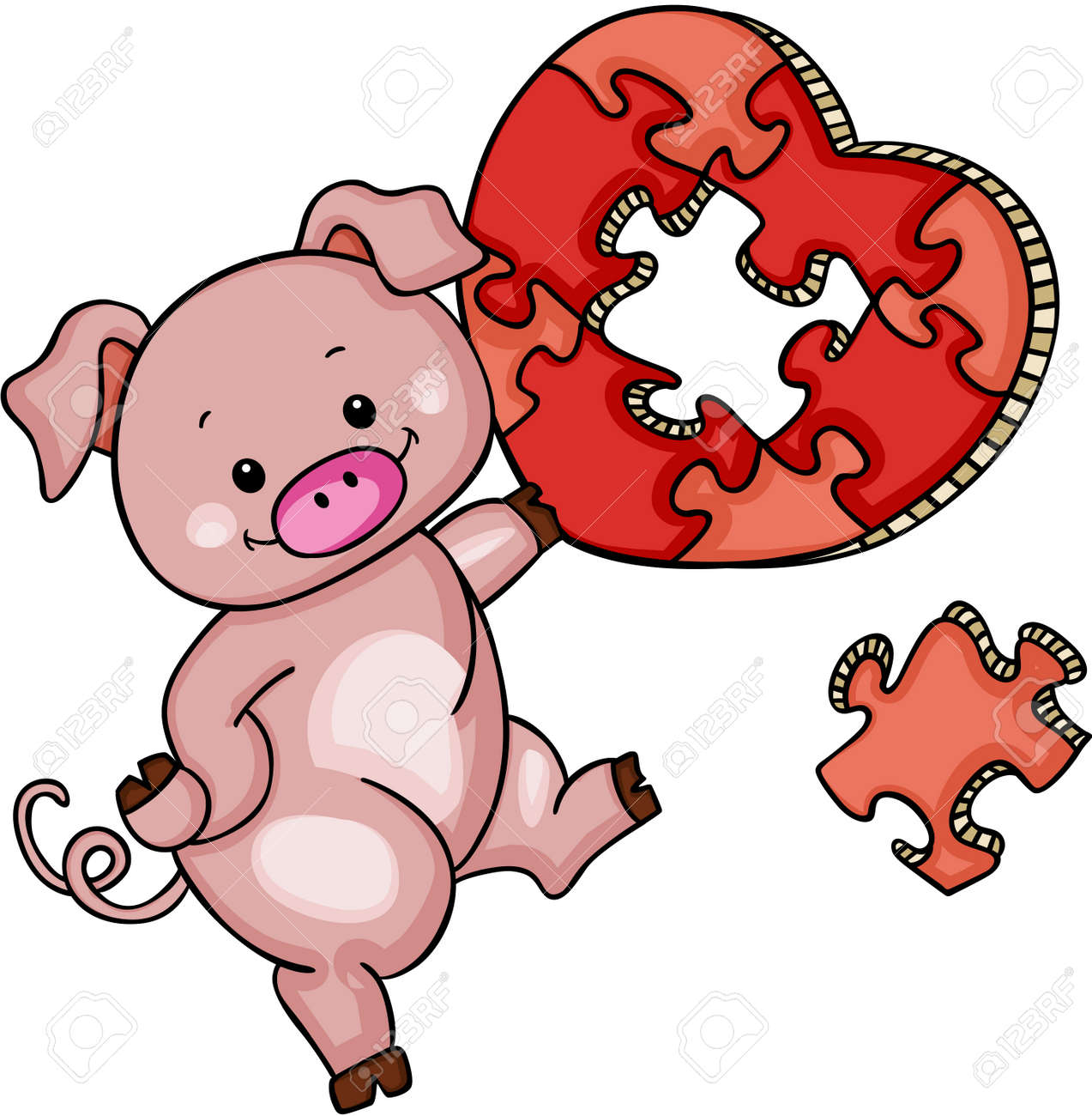 Cute Pig With Heart Shaped Puzzle Stock Vector