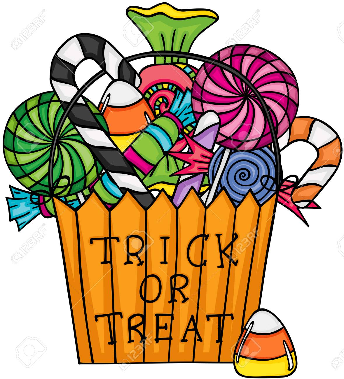 Halloween Trick Or Treat Filled With Candies Royalty Free Cliparts,  Vectors, And Stock Illustration. Image 87521182.