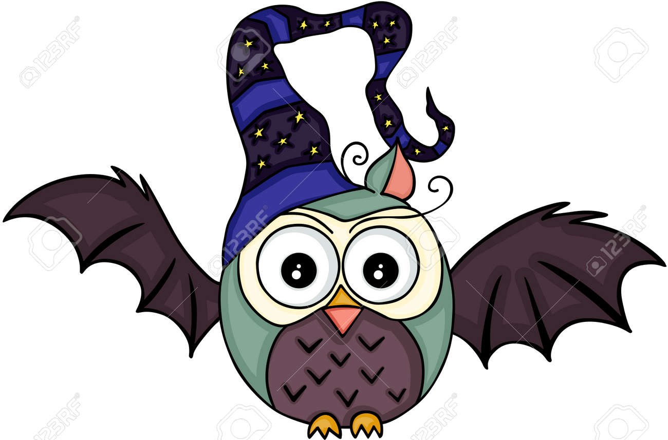 halloween bat owl with witch hat royalty free cliparts, vectors, and