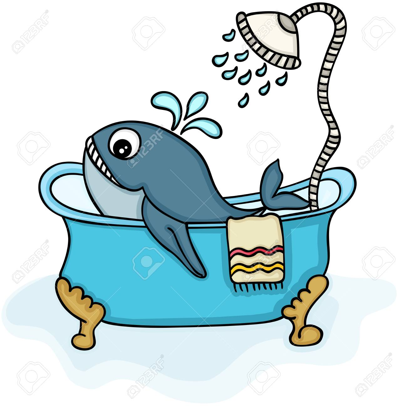 Little Whale In Bathtub With Shower Royalty Free Cliparts, Vectors ...