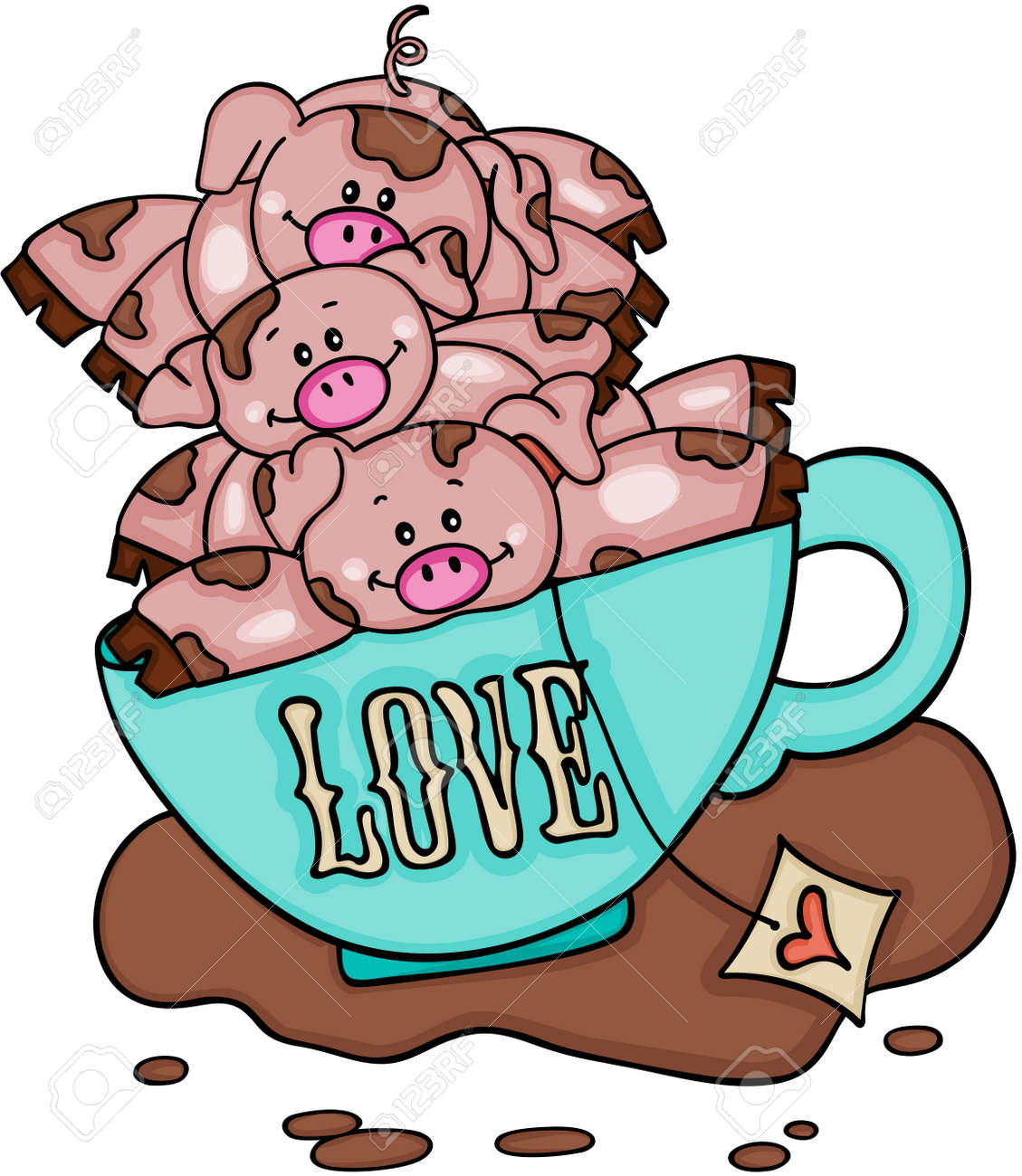 Stack of three piggies in love cup of tea - 88801707