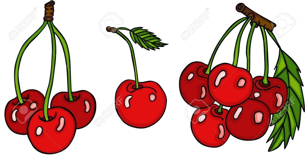 Set of three cute red cherries - 93403450