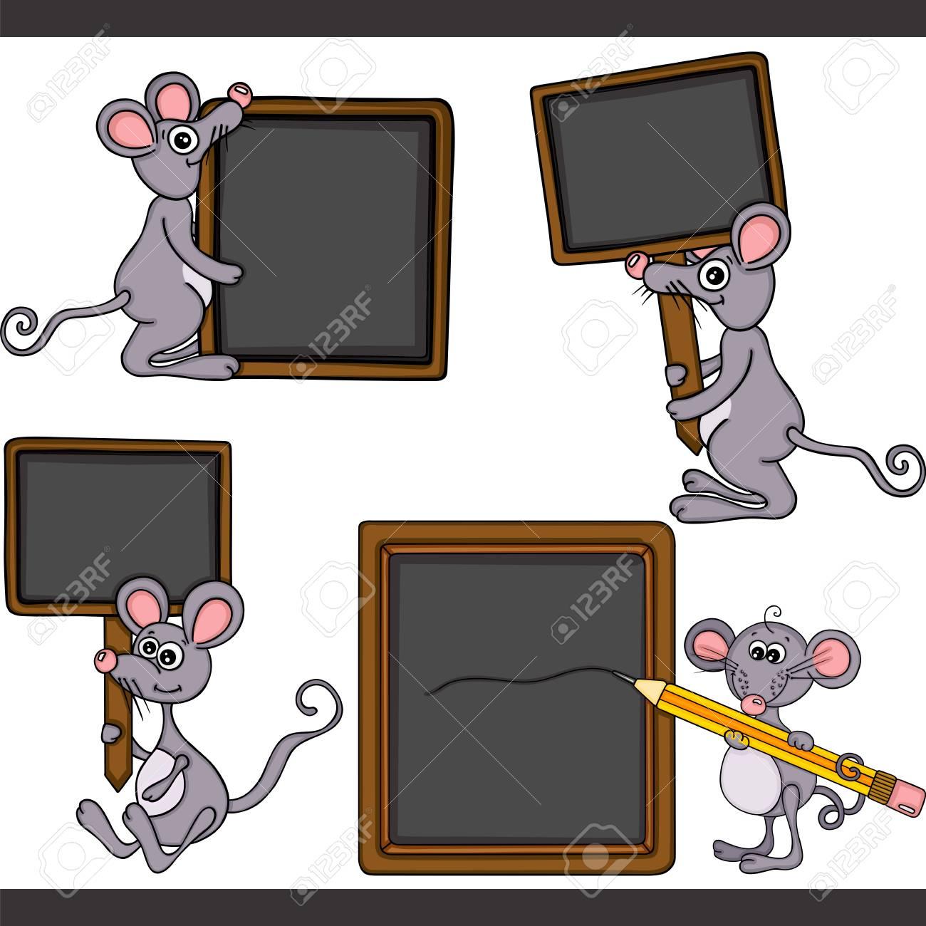 Mouse with blank wooden blackboard set digital elements - 104183110
