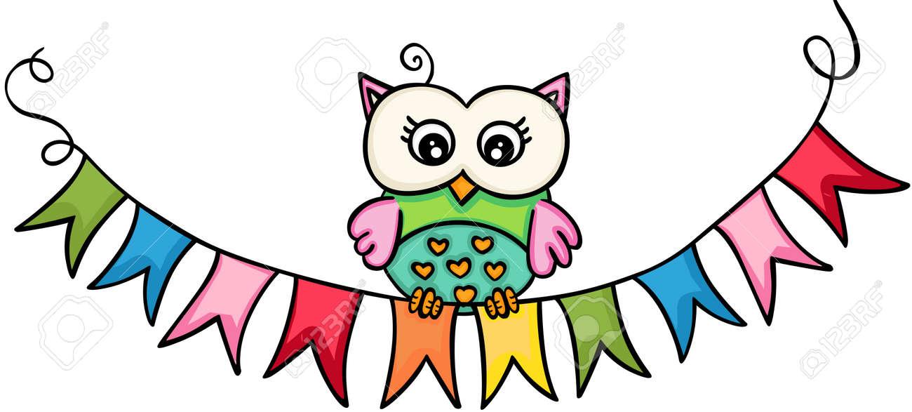 Owl wih flag banner - 104183141