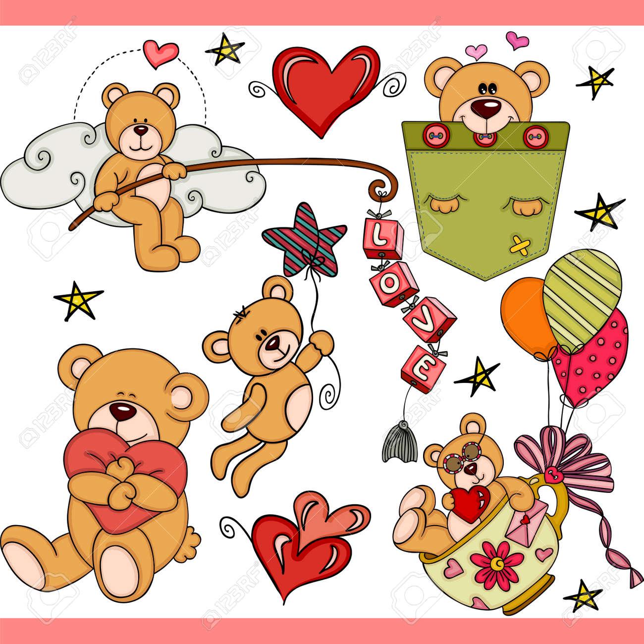Teddy bear party set digital elements - 109739417