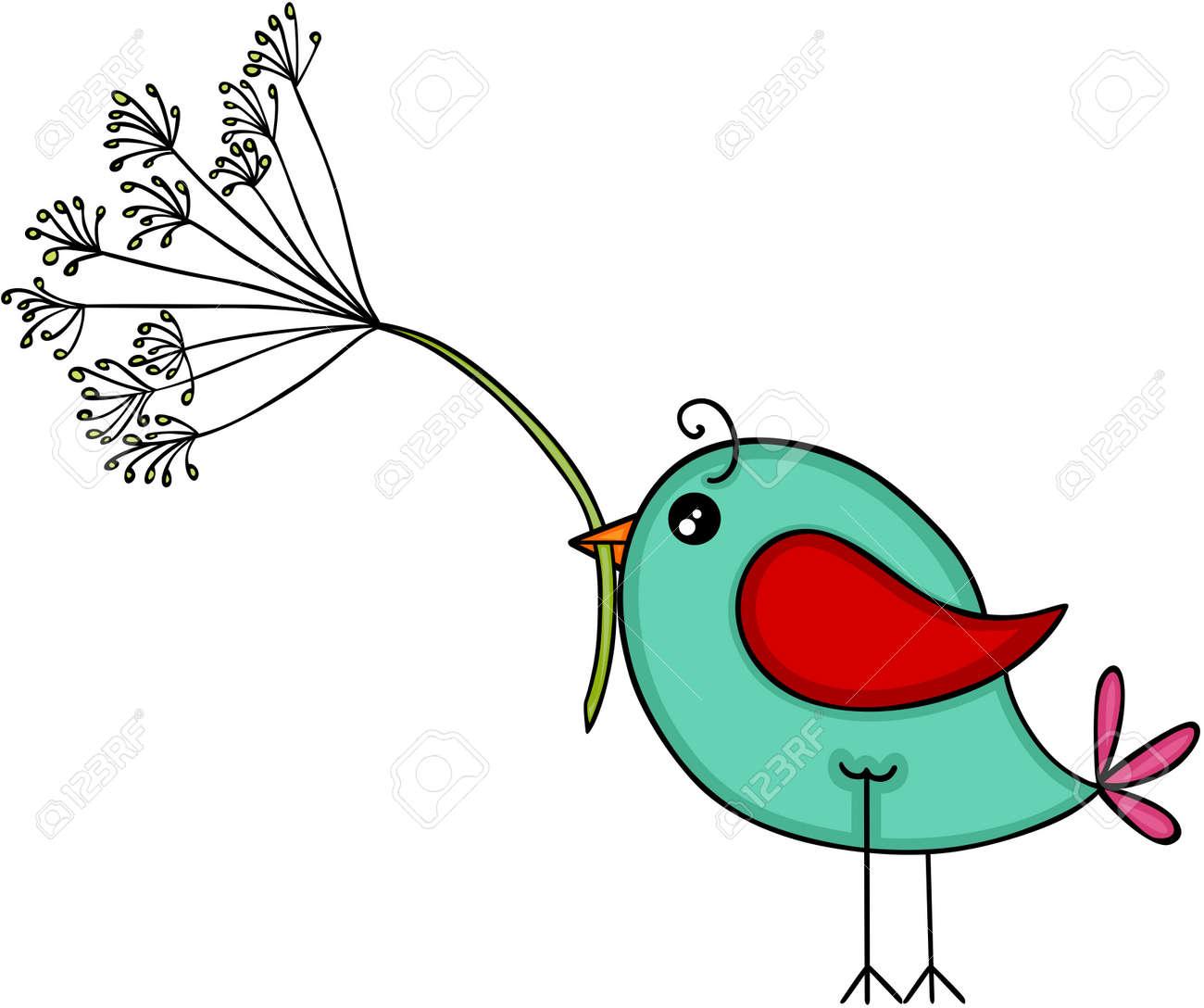 Blue bird with dandelion flower - 105208697