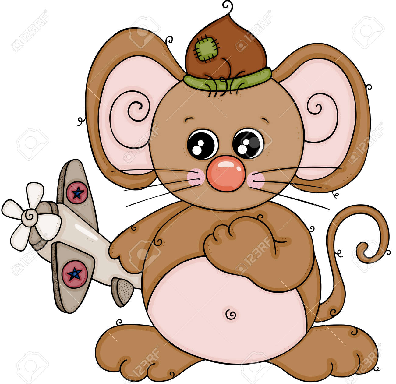 Cute brown mouse playing with little airplane - 135814185