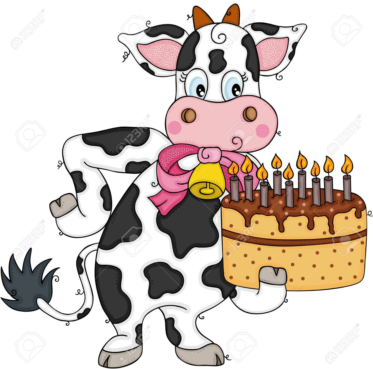 Fantastic Cute Cow Holding A Birthday Cake Royalty Free Cliparts Vectors Funny Birthday Cards Online Overcheapnameinfo
