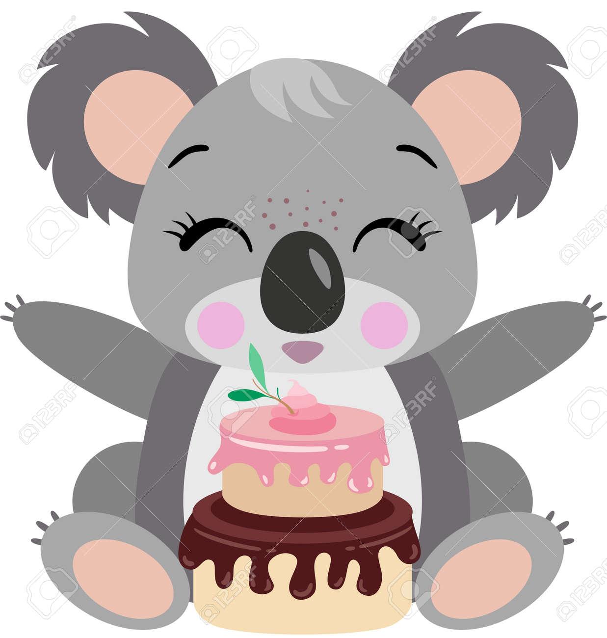 Astonishing Happy Koala With Birthday Cake Royalty Free Cliparts Vectors And Funny Birthday Cards Online Hetedamsfinfo