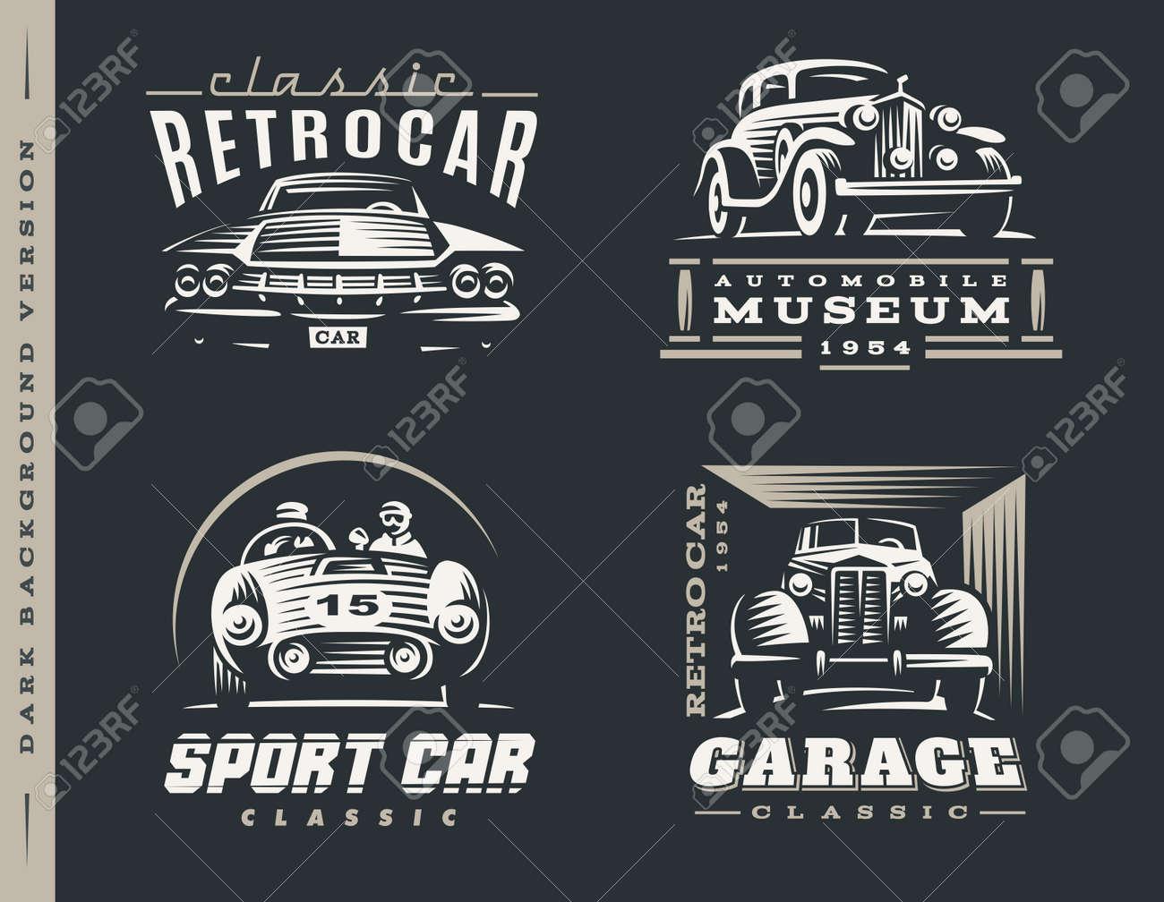 クラシックカーのロゴのイラストは暗い背景に設定しますのイラスト素材