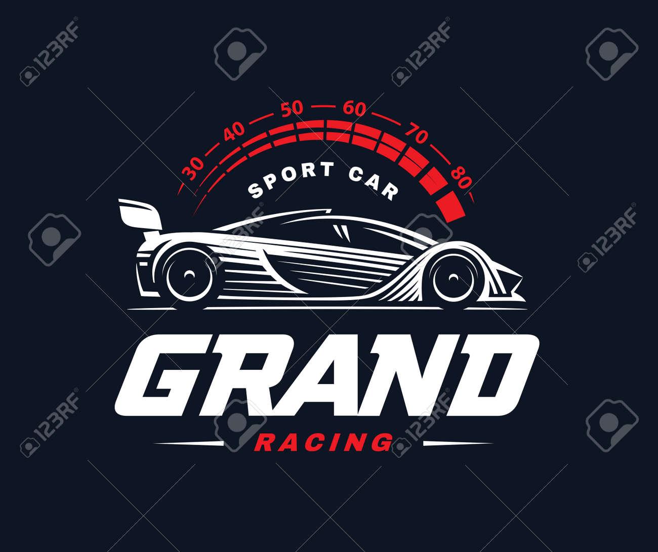 Sport Car Logo On Dark Background Racing Royalty Free Cliparts