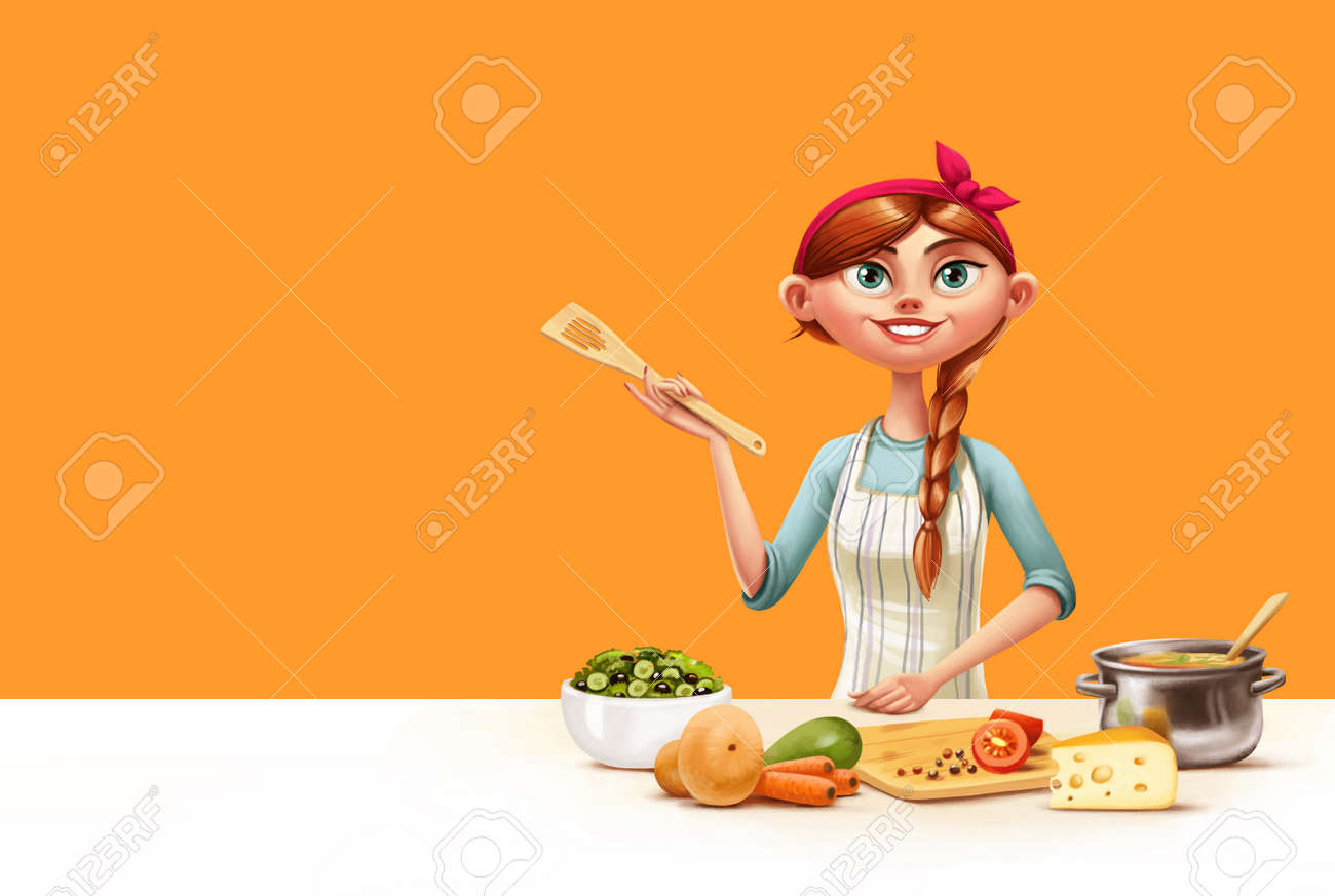 Selection of cartoons on cooking kitchens food and eating - Illustration Of Housewife In The Kitchen Cooking Stock Illustration 61426352