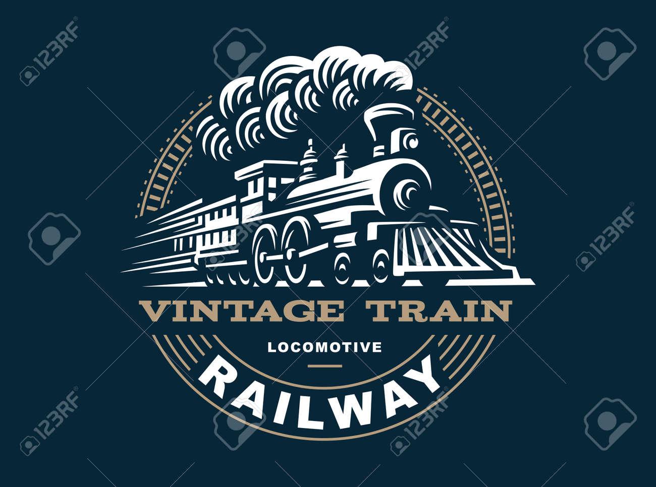 Locomotive illustration, vintage style emblem design - 64134485
