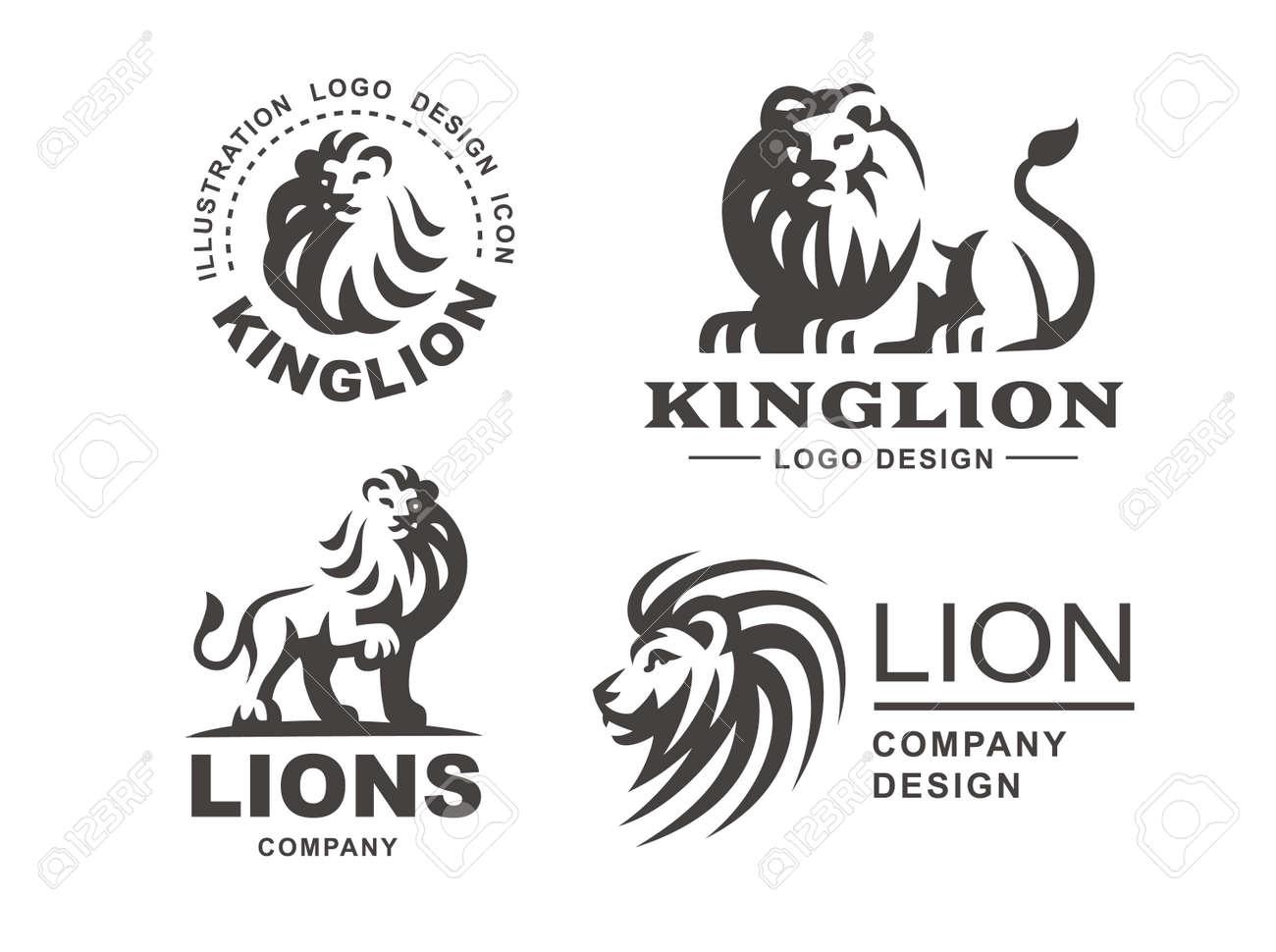 lion logo set vector illustration emblem design on white