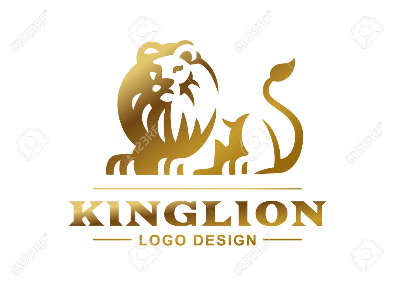 gold lion logo vector illustration emblem design on white