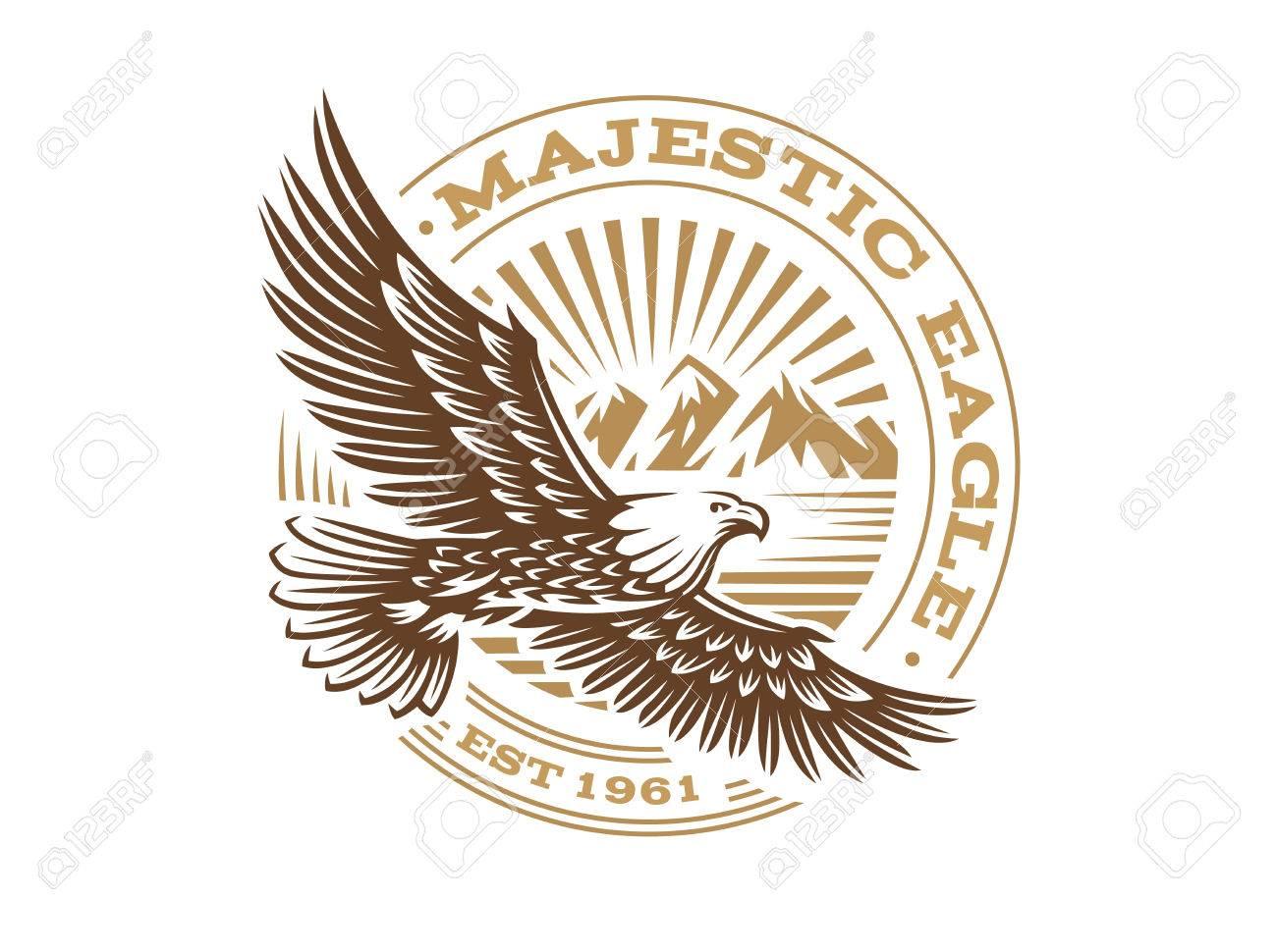 eagle logo vector illustration emblem on white background royalty