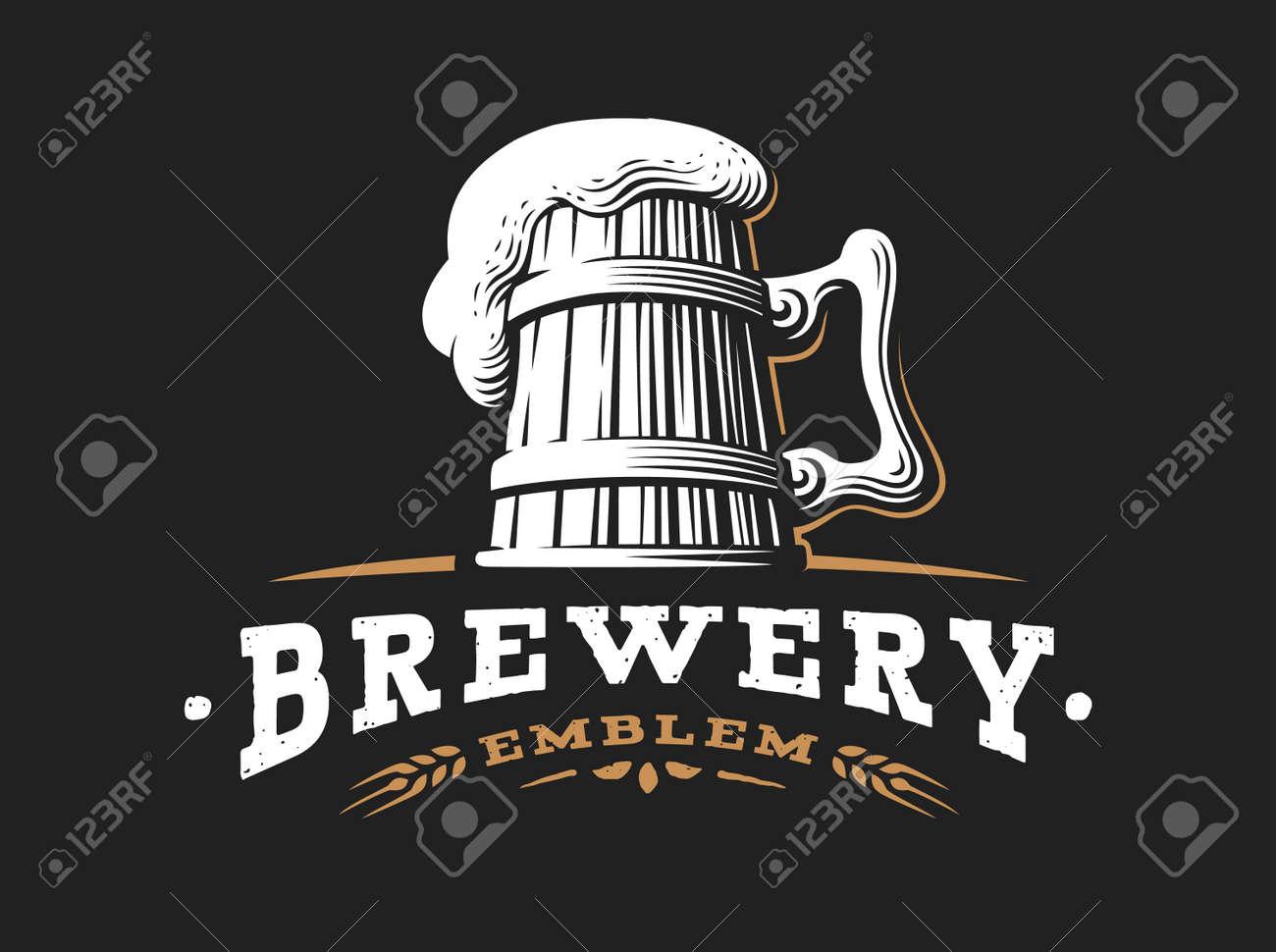 Wooden Beer Mug Logo Vector Illustration Emblem Brewery Design Royalty Free Cliparts Vectors And Stock Illustration Image 70777685