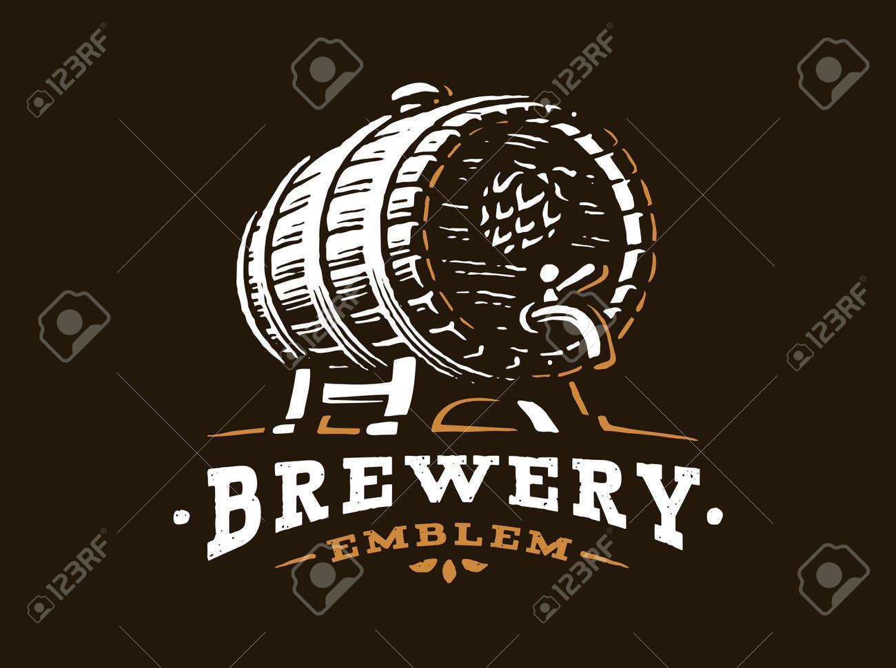 Wooden beer barrel logo - vector illustration, emblem brewery design on black background - 70777645