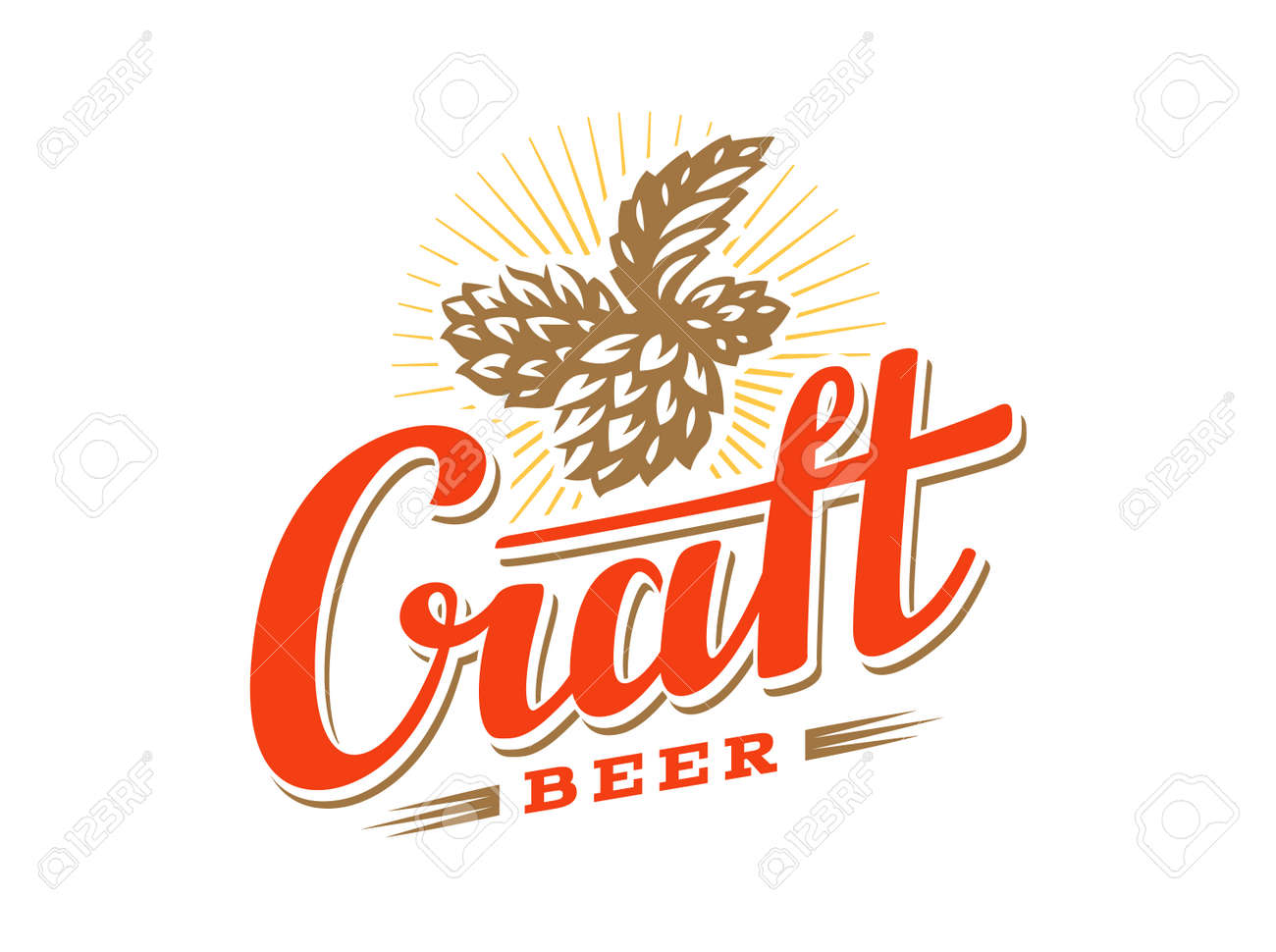 Craft Beer Logo Vector Illustration Hop Emblem Design On White