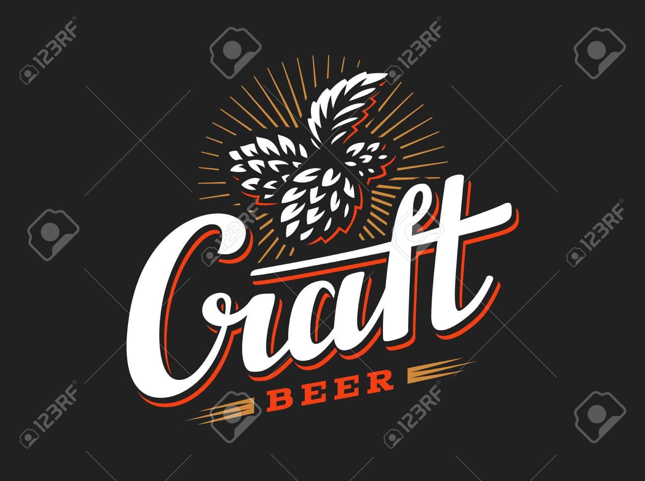 Craft Beer Logo Vector Illustration Hop Emblem Design On Black