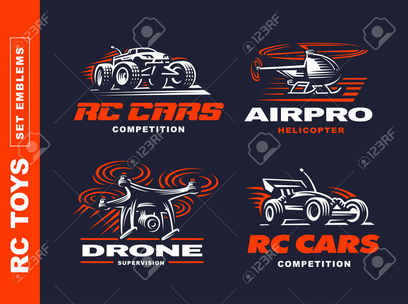 Rc Toys Transport Logo Set Vector Illustration Emblem Design