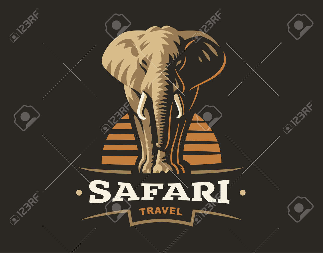african safari elephant logo illustration emblem design on dark
