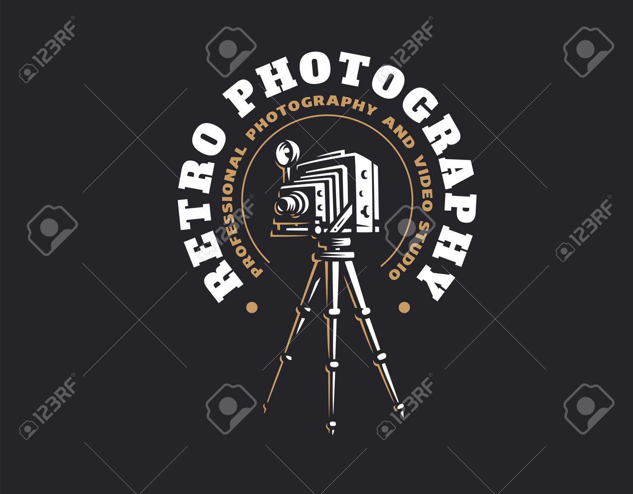 Retro photo camera logo - vector illustration. Vintage emblem design - 84910053