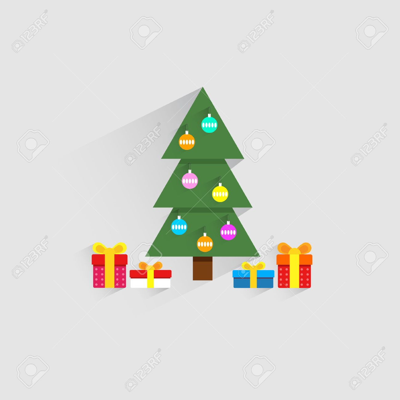 christmas and new year flat designchristmas tree background in flat design style stock - Flat Christmas Tree