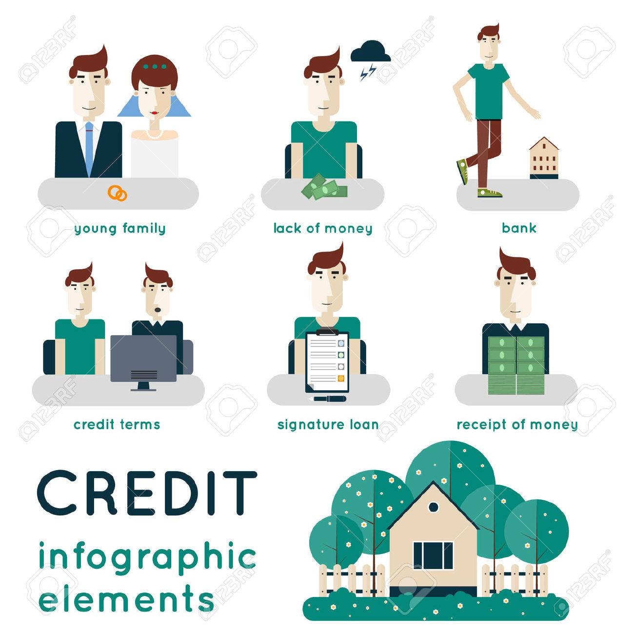 Elements Of Infographic Showing Process Of Getting Loan Saving – Contract for Money Loan