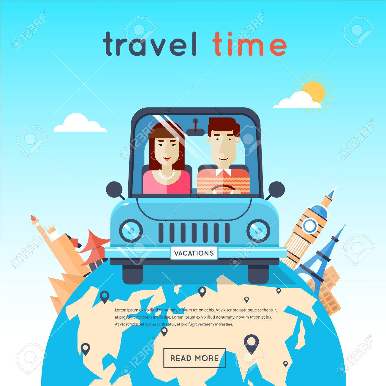 Man And Woman Traveling By Car Egypt Usa Japan France England Royalty Free Cliparts Vectors And Stock Illustration Image 42030254