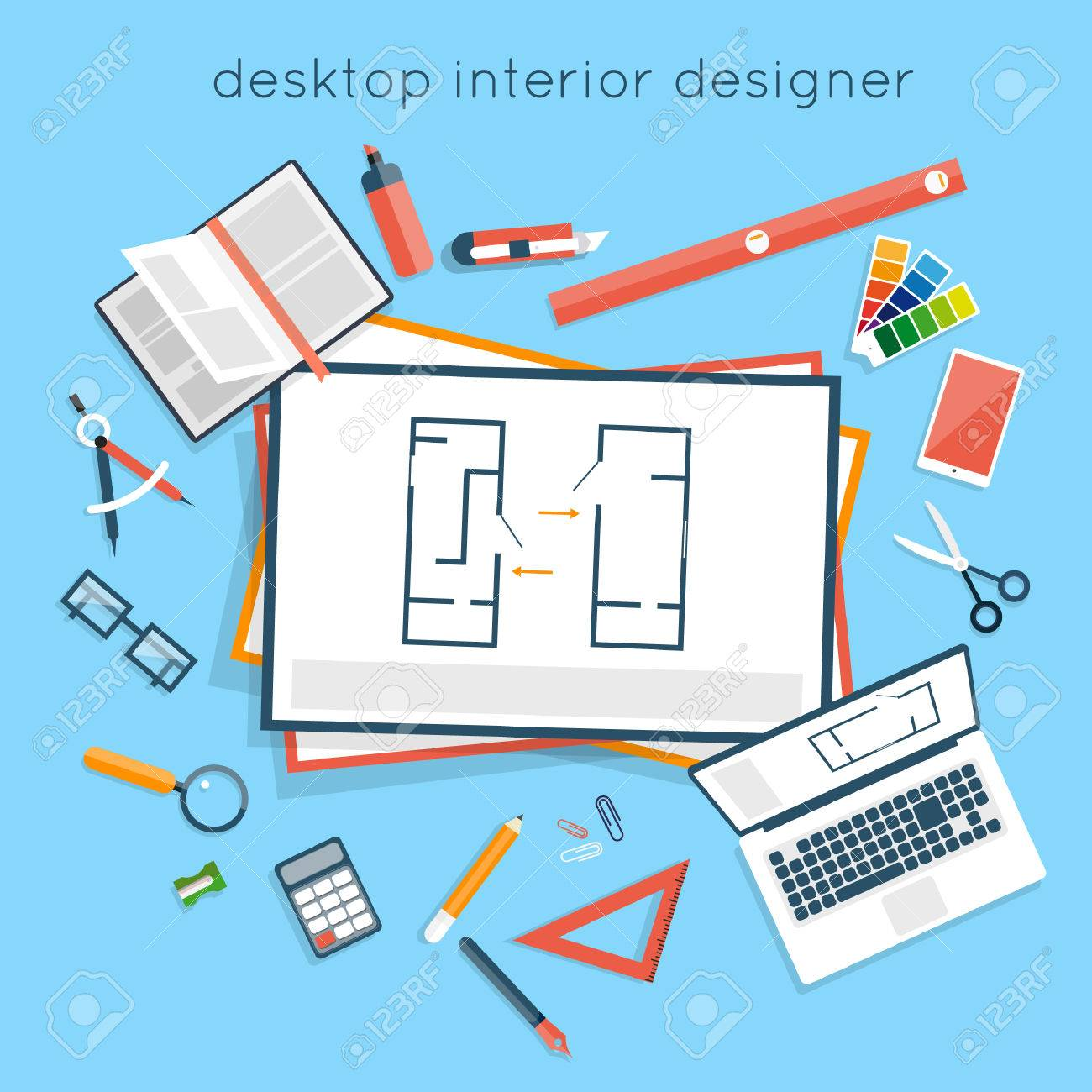 Interior Designer Workplace Planning On Laptop Top View Design Project