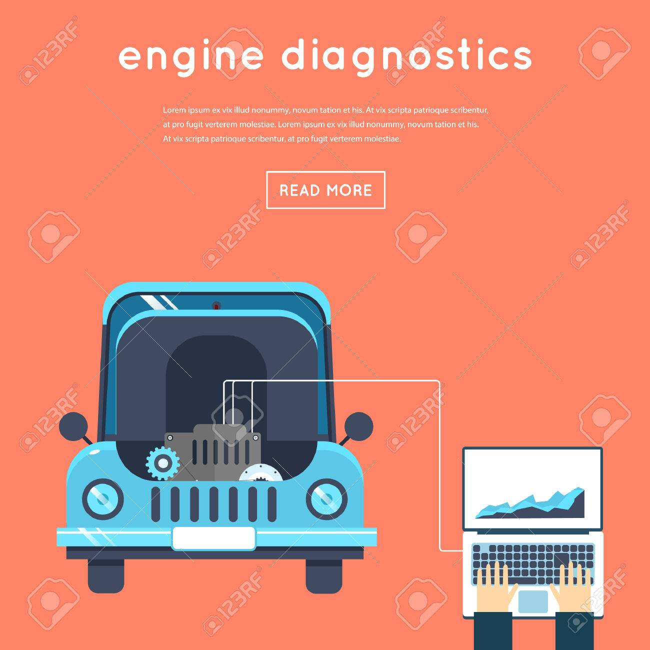 Car Service Diagnosis Of Engine Auto Mechanic Repair Of Machines