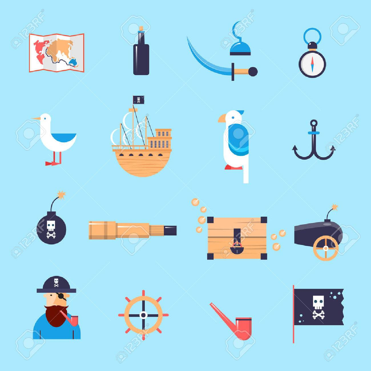 set of pirates icons flat design vector illustration royalty