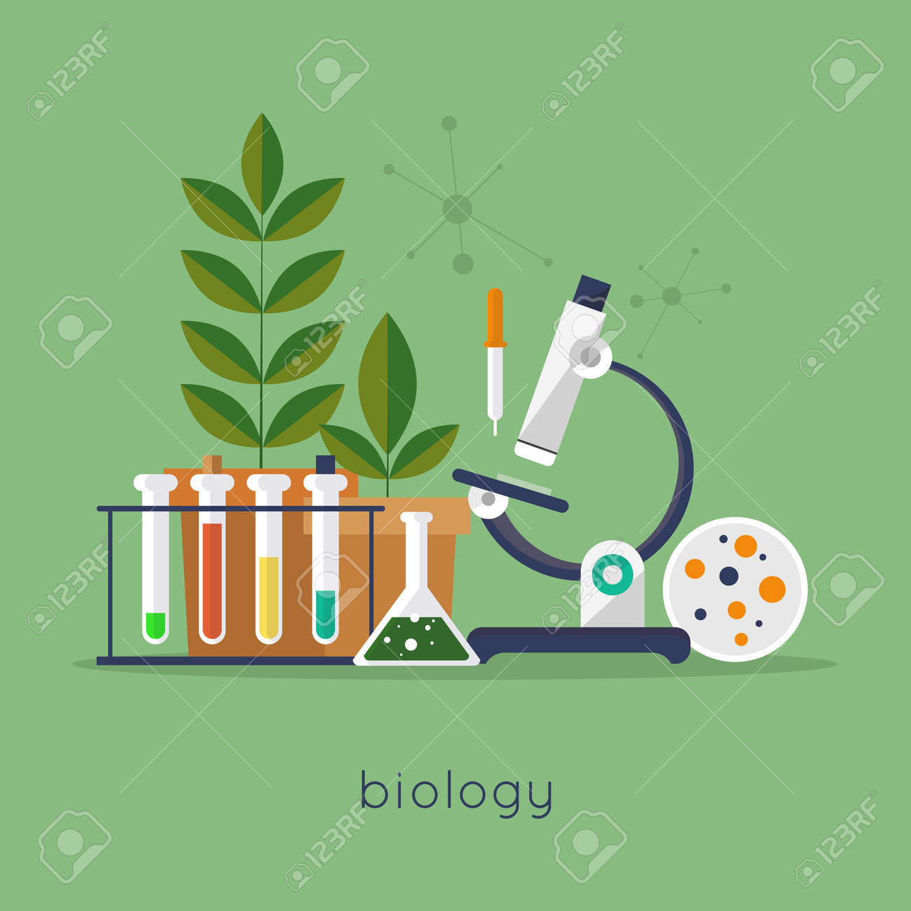 Biology laboratory workspace and science equipment concept. Flat design vector illustration. - 42289632