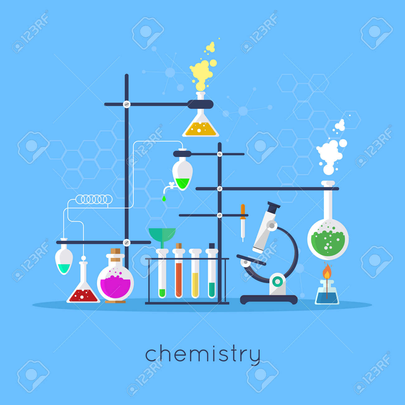 Chemistry laboratory workspace and science equipment concept flat chemistry laboratory workspace and science equipment concept flat design vector illustration imagens 42289670 ccuart Gallery