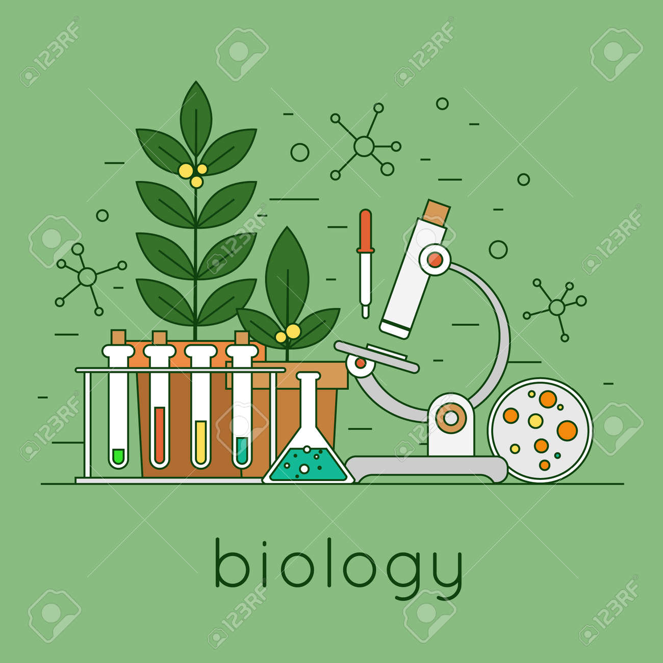 Thin line biology laboratory workspace and science equipment concept. Flat design vector illustration. - 45177730