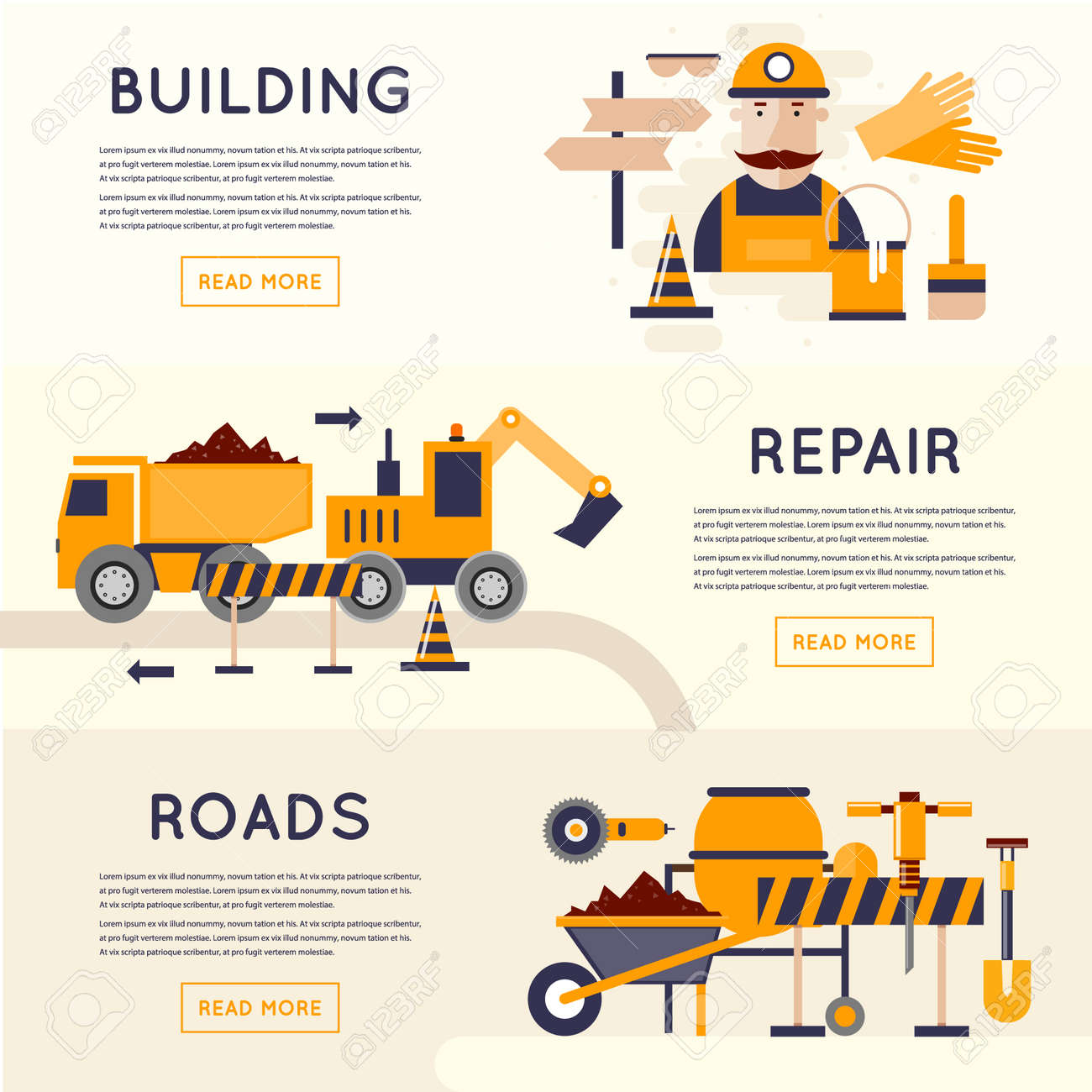 Construction Equipment Banners Fantasy Banners