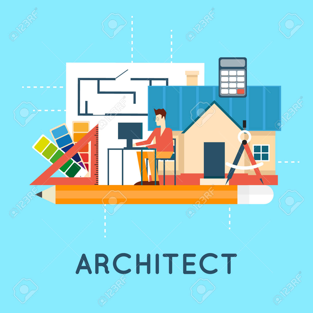 Architectural Project, Architectural Plan, Technical Project. Engineering  For Building Houses.